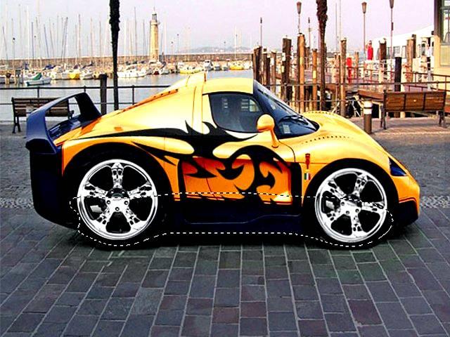 Уменьшаем размер машины, создаем мини-суперкар в Фотошопе