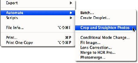 Идем в «File - Automate - Crop and Straighten Photos» (Файл - Автоматически - Кадрировать и выпрямить фото).