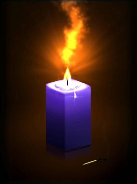 Как нарисовать горящую свечу в Фотошопе