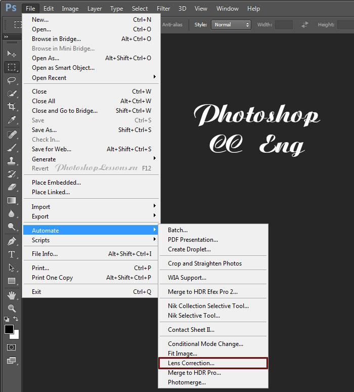 Перевод File - Automate - Lens Correction (Файл - Автоматизация - Коррекция дисторсии) на примере Photoshop CC (2014) (Eng)
