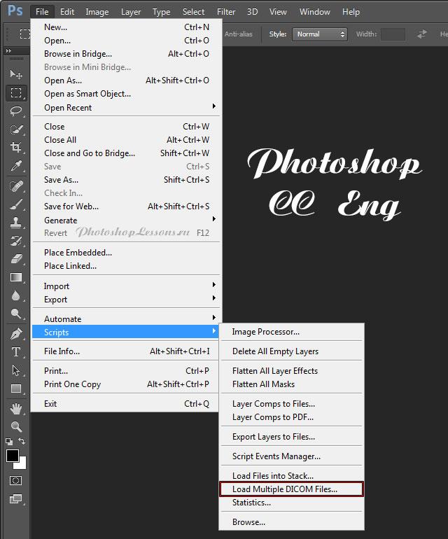 Перевод File - Scripts - Load Multiple DICOM Files (Файл - Сценарии - Загрузить несколько файлов DICOM) на примере Photoshop CC (2014) (Eng)