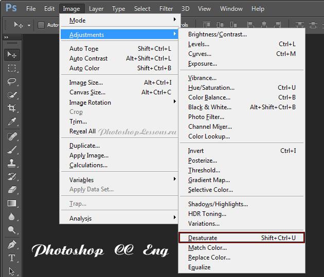 Перевод Image - Adjustments - Desaturate (Изображение - Коррекция - Обесцветить / Shift+Ctrl+U) на примере Photoshop CC (2014) (Eng)