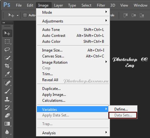 Перевод Image - Variables - Data Sets (Изображение - Переменные - Наборы данных) на примере Photoshop CC (2014) (Eng)