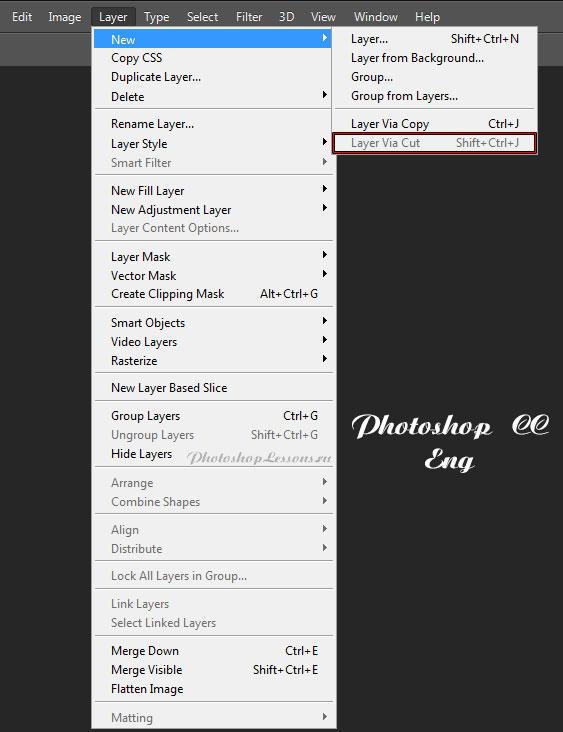 Перевод Layer - New - Layer Via Cut (Слои - Новый - Вырезать на новый слой / Shift+Ctrl+J) на примере Photoshop CC (2014) (Eng)
