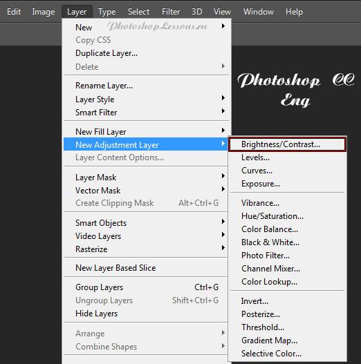 Перевод Layer - New Adjustment Layer - Brightness/Contrast (Слои - Новый корректирующий слой - Яркость/Контрастность) на примере Photoshop CC (2014) (Eng)
