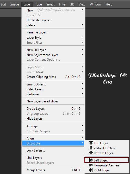 Перевод Layer - Distribute - Left Edges (Слои - Распределить - Левые края) на примере Photoshop CC (2014) (Eng)