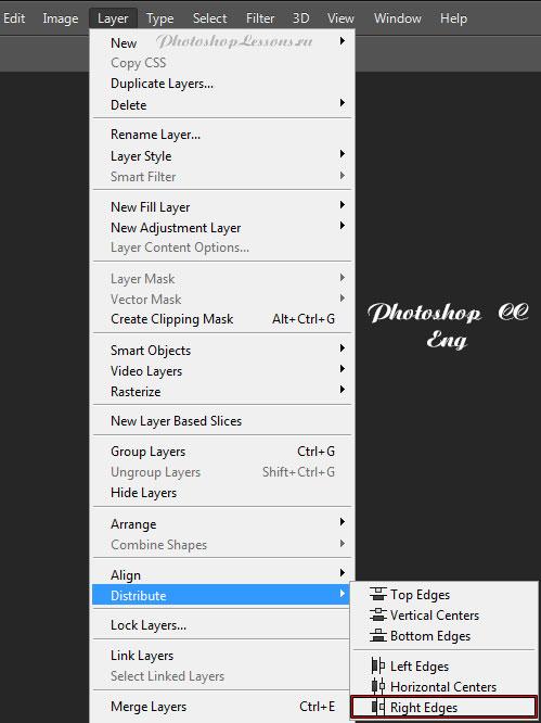 Перевод Layer - Distribute - Right Edges (Слои - Распределить - Правые края) на примере Photoshop CC (2014) (Eng)