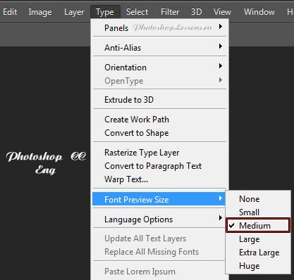 Перевод Type - Font Preview Size - Medium (Текст - Размер просматриваемого шрифта - Средний) на примере Photoshop CC (2014) (Eng)