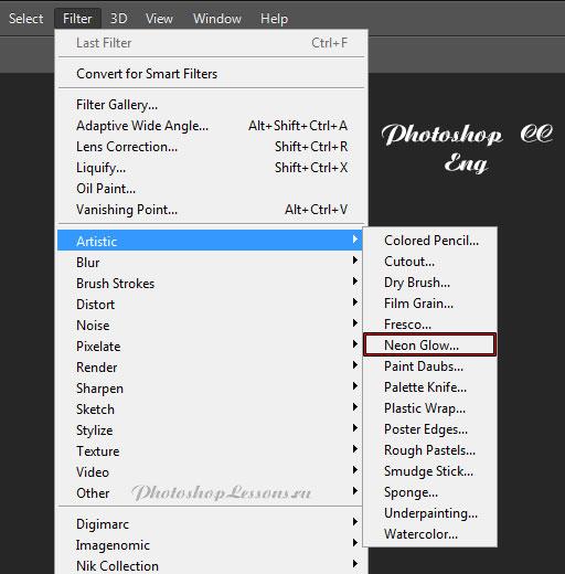 Перевод Filter - Artistic - Neon Glow (Фильтр - Имитация - Неоновый свет) на примере Photoshop CC (2014) (Eng)