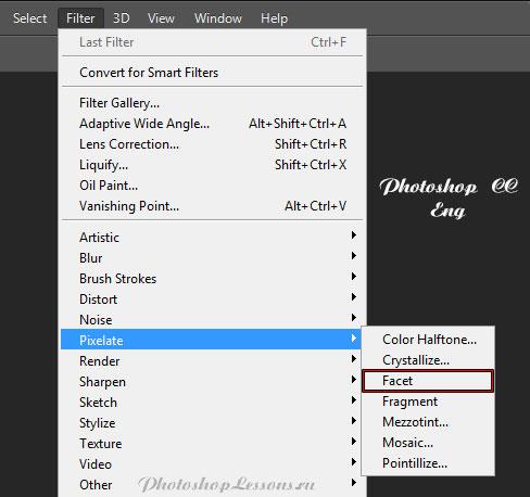 Перевод Filter - Pixelate - Facet (Фильтр - Оформление - Фасет) на примере Photoshop CC (2014) (Eng)