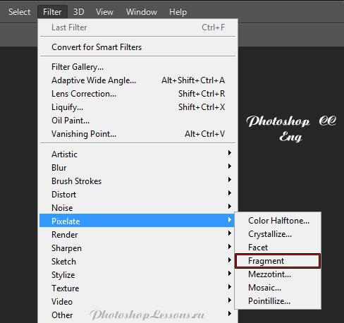 Перевод Filter - Pixelate - Fragment (Фильтр - Оформление - Фрагмент) на примере Photoshop CC (2014) (Eng)