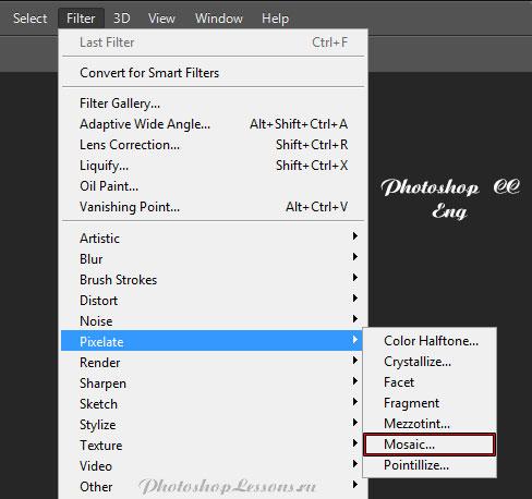 Перевод Filter - Pixelate - Mosaic (Фильтр - Оформление - Мозаика) на примере Photoshop CC (2014) (Eng)