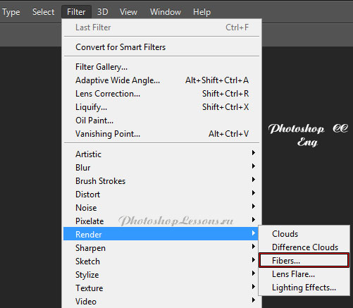 Перевод Filter - Render - Fibers (Фильтр - Рендеринг - Волокна) на примере Photoshop CC (2014) (Eng)