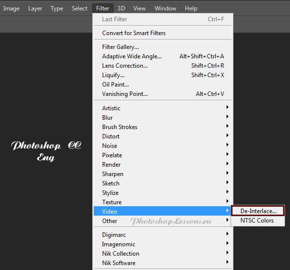 Перевод Filter - Video - De-Interlace (Фильтр - Видео - Устранение чересстрочной развертки) на примере Photoshop CC (2014) (Eng)