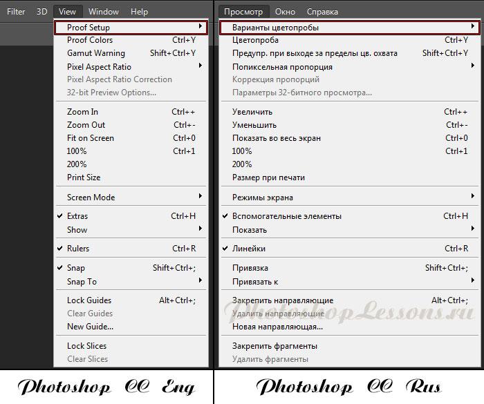Перевод View - Proof Setup (Просмотр - Варианты цветопробы) на примере Photoshop CC (2014) (Eng/Rus)