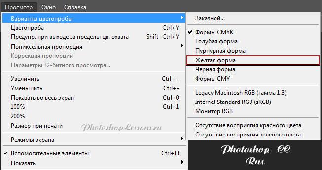 Перевод Просмотр - Варианты цветопробы - Желтая форма (View - Proof Setup - Working Yellow Plate) на примере Photoshop CC (2014) (Rus)