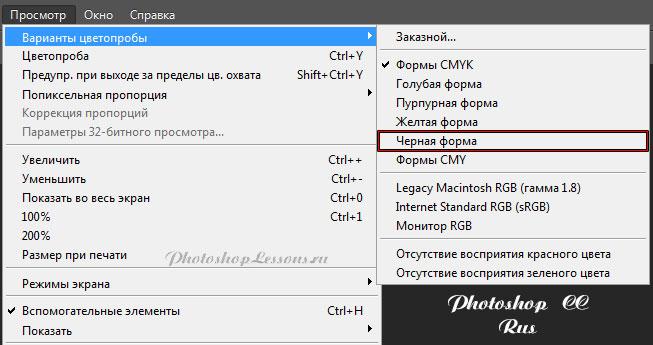 Перевод Просмотр - Варианты цветопробы - Черная форма (View - Proof Setup - Working Black Plate) на примере Photoshop CC (2014) (Rus)