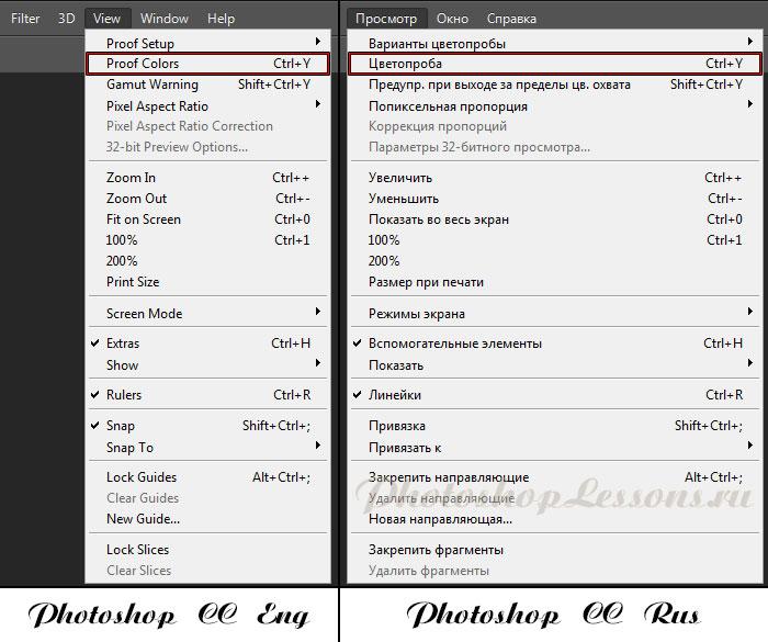 Перевод View - Proof Colors (Просмотр - Цветопроба / Ctrl+Y) на примере Photoshop CC (2014) (Eng/Rus)