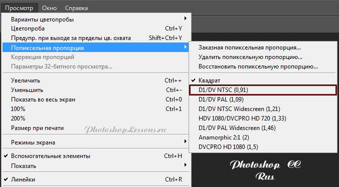 Месторасположение View - Pixel Aspect Ratio - D1/DV NTSC (0,91) на примере Photoshop CC (2014) (Rus)