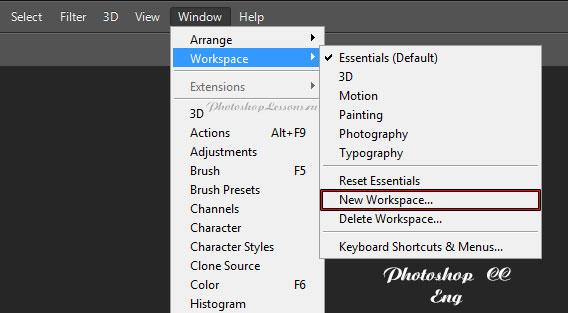 Перевод Window - Workspace - New Workspace (Окно - Рабочая среда - Новая рабочая среда) на примере Photoshop CC (2014) (Eng)