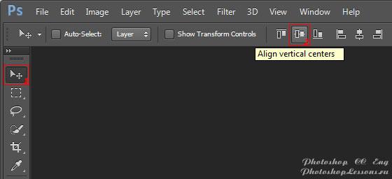 Перевод Move Tool - Align vertical centers (Инструмент «Перемещение» - Выравнивание центров по вертикали) на примере Photoshop CC (2014) (Eng)