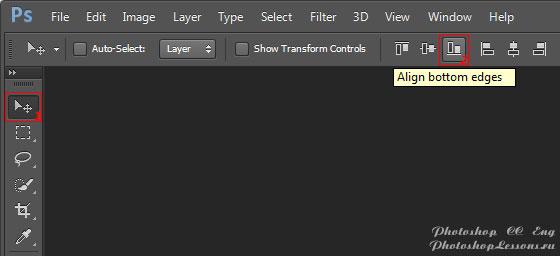 Перевод Move Tool - Align bottom edges (Инструмент «Перемещение» - Выравнивание по нижнему краю) на примере Photoshop CC (2014) (Eng)