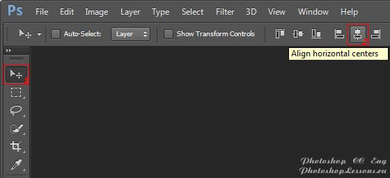 Перевод Move Tool - Align horizontal centers (Инструмент «Перемещение» - Выравнивание центров по горизонтали) на примере Photoshop CC (2014) (Eng)