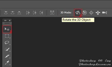 Перевод Move Tool - Rotate the 3D Object (Инструмент «Перемещение» - Повернуть 3D-объект) на примере Photoshop CC (2014) (Eng)