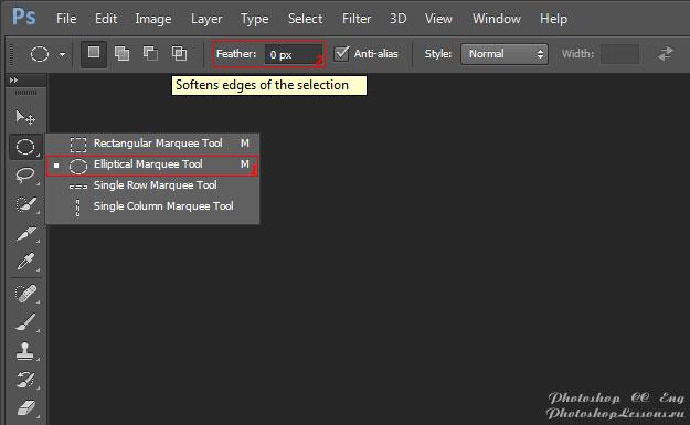 Перевод Elliptical Marquee Tool - Feather (Инструмент «Овальная область» - Растушевка) на примере Photoshop CC (2014) (Eng)