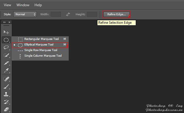 Перевод Elliptical Marquee Tool - Refine Edge (Инструмент «Овальная область» - Уточн. край) на примере Photoshop CC (2014) (Eng)
