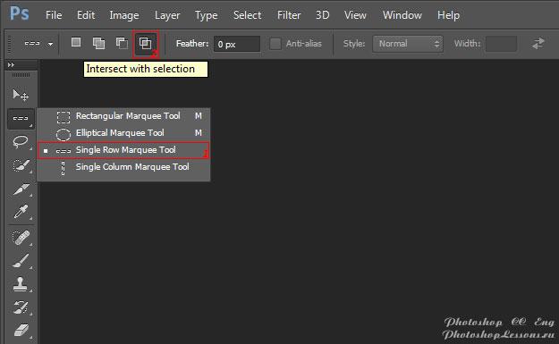 Перевод Single Row Marquee Tool - Intersect with selection (Инструмент «Область (горизонтальная строка)» - Пересечение с выделенной областью) на примере Photoshop CC (2014) (Eng)