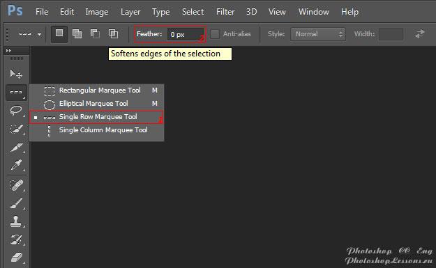Перевод Single Row Marquee Tool - Feather (Инструмент «Область (горизонтальная строка)» - Растушевка) на примере Photoshop CC (2014) (Eng)
