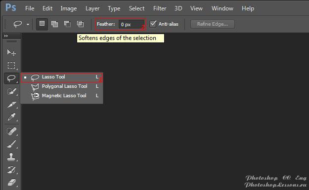 Перевод Lasso Tool - Feather (Инструмент «Лассо» - Растушевка) на примере Photoshop CC (2014) (Eng)