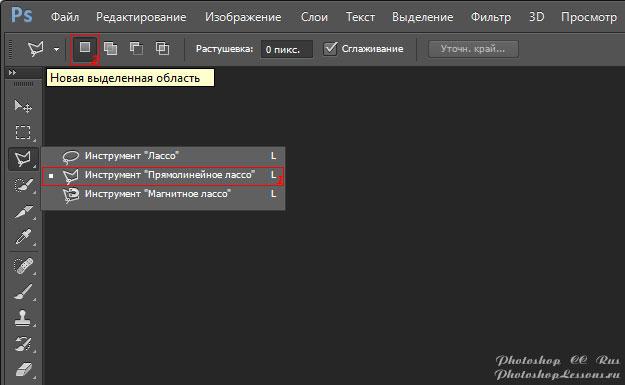 Перевод Инструмент «Прямолинейное лассо» - Новая выделенная область (Polygonal Lasso Tool - New selection) на примере Photoshop CC (2014) (Rus)