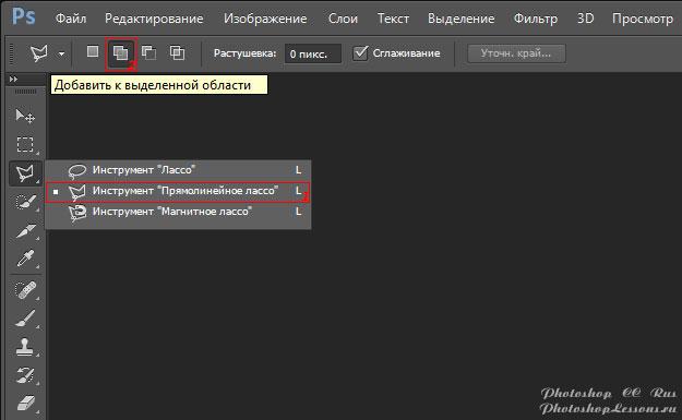 Перевод Инструмент «Прямолинейное лассо» - Добавить к выделенной области (Polygonal Lasso Tool - Add to selection) на примере Photoshop CC (2014) (Rus)