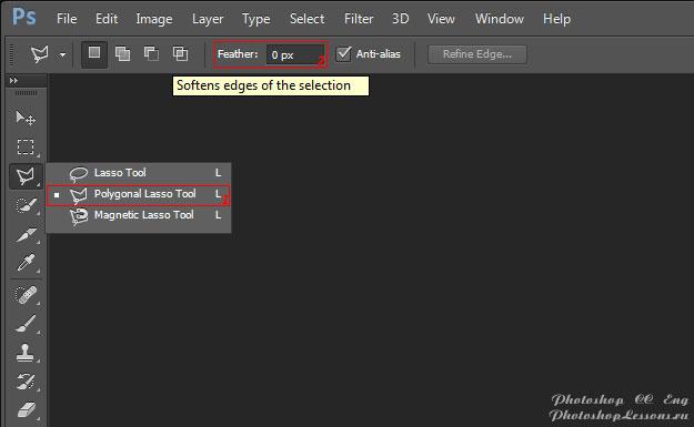 Перевод Polygonal Lasso Tool - Feather (Инструмент «Прямолинейное лассо» - Растушевка) на примере Photoshop CC (2014) (Eng)