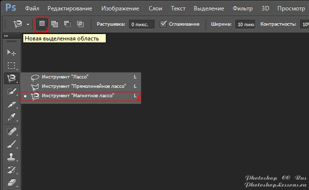 Перевод Инструмент «Магнитное лассо» - Новая выделенная область (Magnetic Lasso Tool - New selection) на примере Photoshop CC (2014) (Rus)