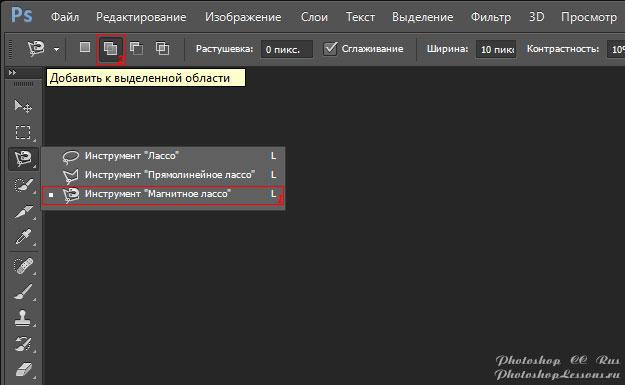 Перевод Инструмент «Магнитное лассо» - Добавить к выделенной области (Magnetic Lasso Tool - Add to selection) на примере Photoshop CC (2014) (Rus)
