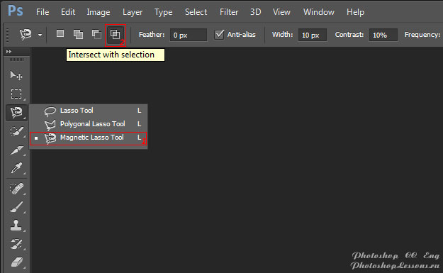 Перевод Magnetic Lasso Tool - Intersect with selection (Инструмент «Магнитное лассо» - Пересечение с выделенной областью) на примере Photoshop CC (2014) (Eng)