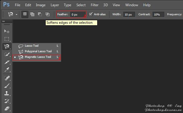 Перевод Magnetic Lasso Tool - Feather (Инструмент «Магнитное лассо» - Растушевка) на примере Photoshop CC (2014) (Eng)