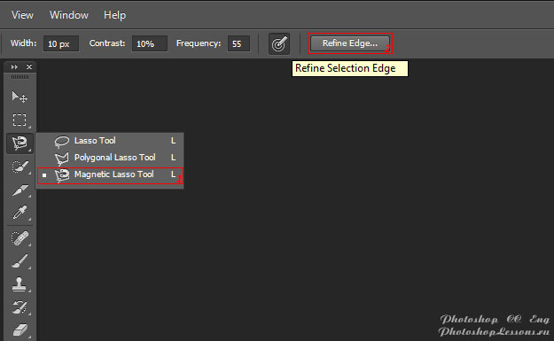 Перевод Magnetic Lasso Tool - Refine Edge (Инструмент «Магнитное лассо» - Уточн. край) на примере Photoshop CC (2014) (Eng)