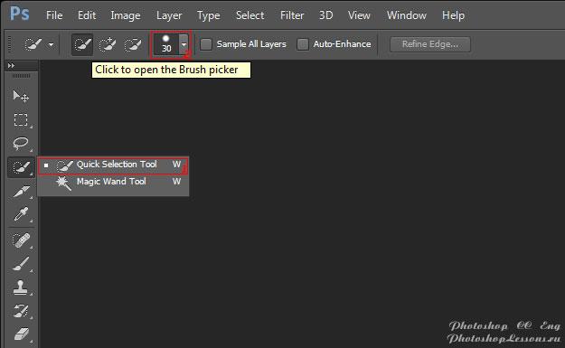 Перевод Quick Selection Tool - Click to open the Brush picker (Инструмент «Быстрое выделение» - Щелкните для открытия параметров кисти) на примере Photoshop CC (2014) (Eng)