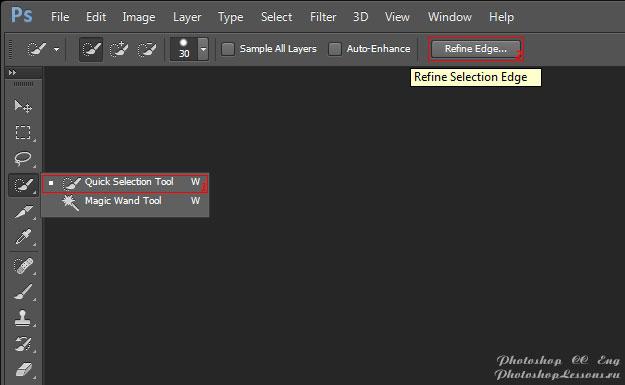 Перевод Quick Selection Tool - Refine Edge (Инструмент «Быстрое выделение» - Уточн. край) на примере Photoshop CC (2014) (Eng)