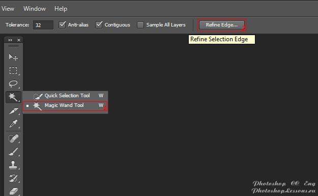 Перевод Magic Wand Tool - Refine Edge (Инструмент «Волшебная палочка» - Уточн. край) на примере Photoshop CC (2014) (Eng)