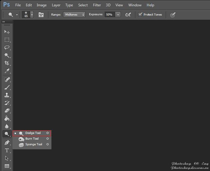 Перевод Dodge Tool (Инструмент «Осветлитель» / O) на примере Photoshop CC (2014) (Eng)