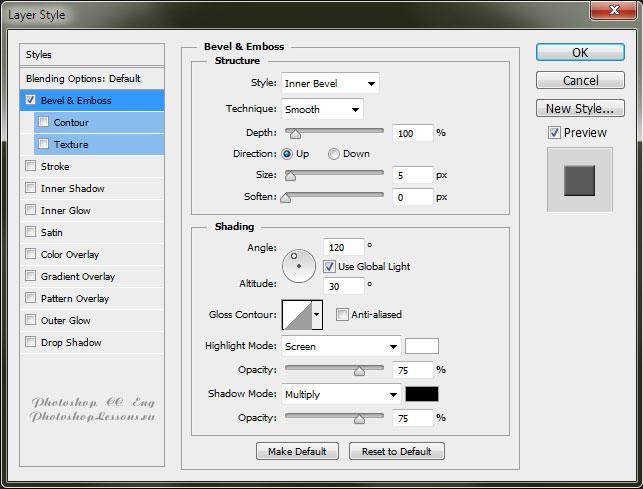 Перевод Layer Style - Bevel & Emboss (Стиль слоя - Тиснение) на примере Photoshop CC (2014) (Eng)