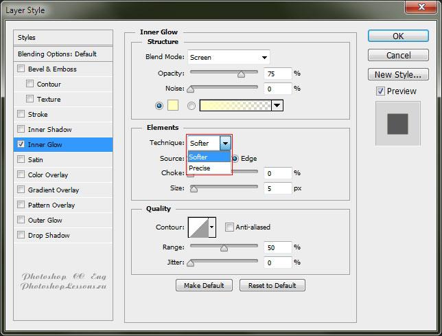 Варианты Inner Glow - Technique (Внутреннее свечение - Метод) на примере Photoshop CC (2014) (Eng)