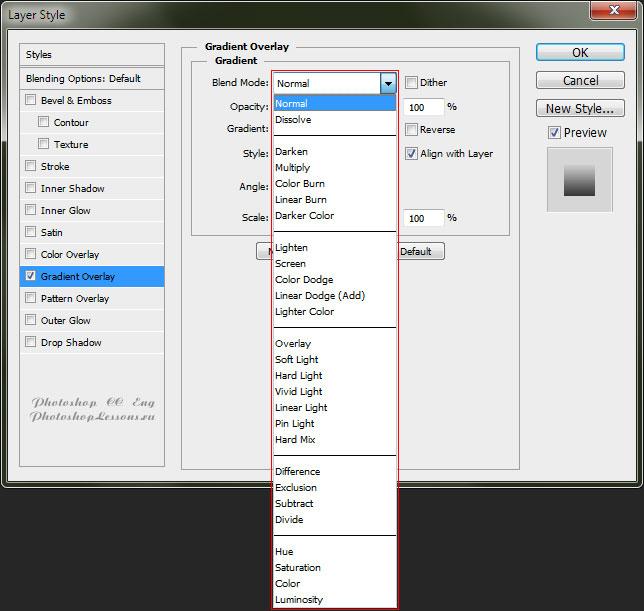 Варианты Gradient Overlay - Blend Mode (Наложение градиента - Режим наложения) на примере Photoshop CC (2014) (Eng)