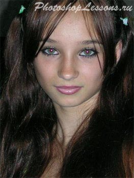 Фото с «красными глазами».