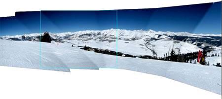 Этот пример показывает перемещение исчезающей точки к краю фотографии.